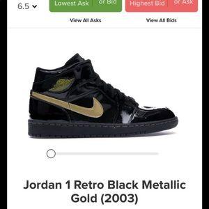 jordan 1 retro black metallic gold